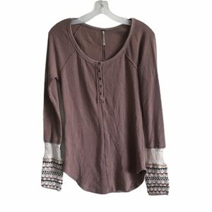 Free People Brown Knit Long Sleeve Shirt